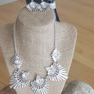 sliver and rhinestone  necklace